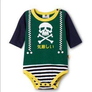 Harajuku Mini Skull Crossbones Suspender Bodysuit